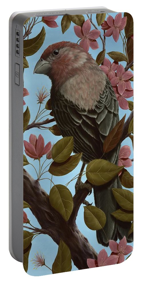 Animals Portable Battery Charger featuring the painting House Finch by Rick Bainbridge