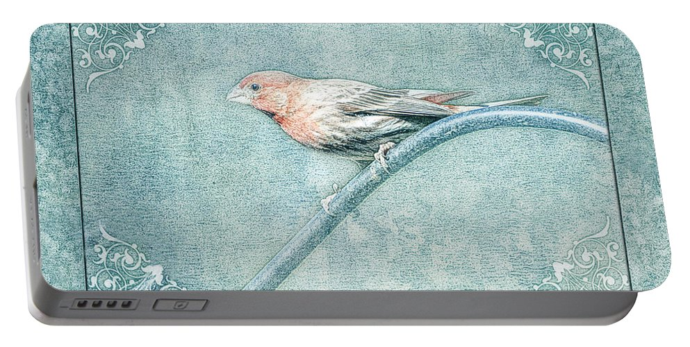 Nature Portable Battery Charger featuring the photograph House Finch With Colored Sketch Effect by Debbie Portwood