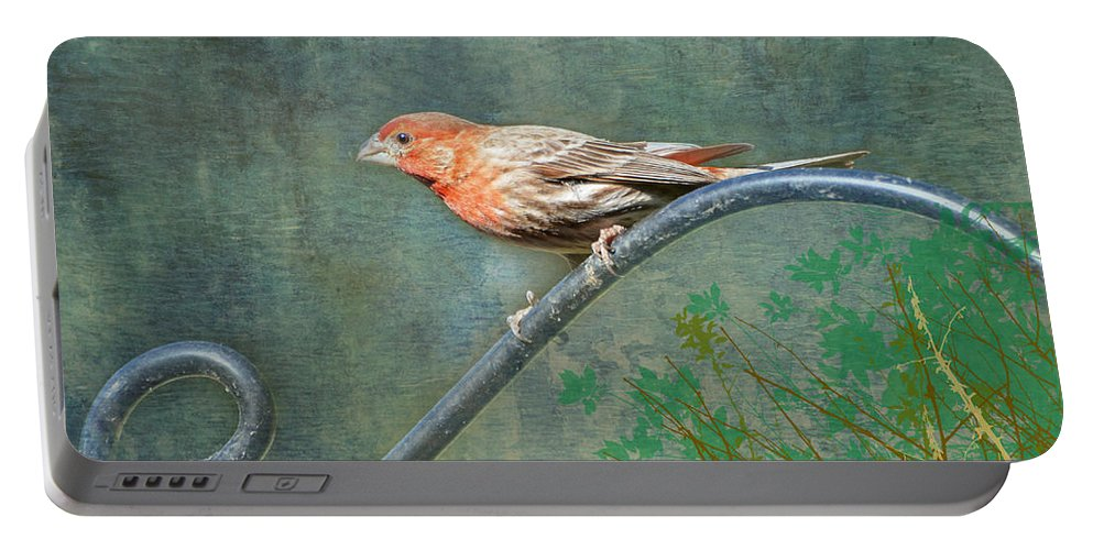 Nature Portable Battery Charger featuring the photograph House Finch With Verse by Debbie Portwood