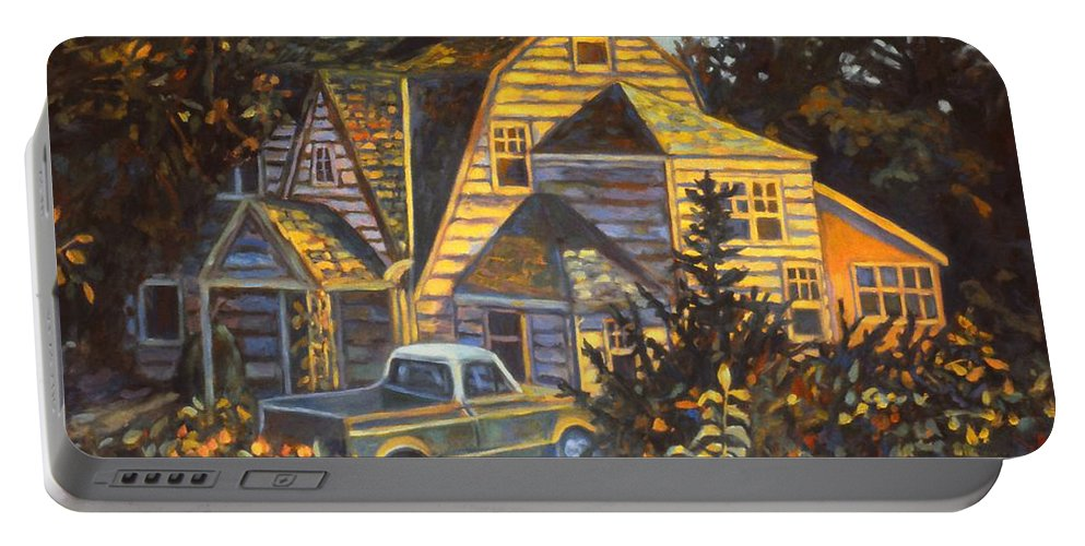 Kendall Kessler Portable Battery Charger featuring the painting House in Christiansburg by Kendall Kessler