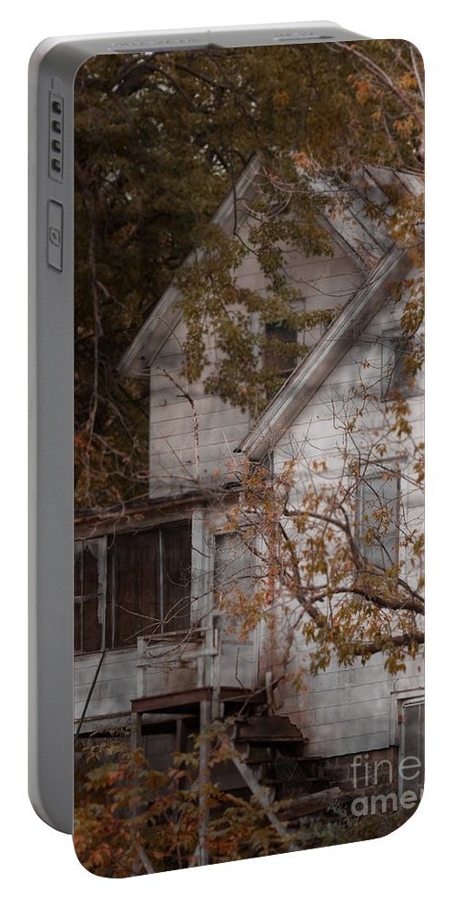 Abandoned; Home; House; Old; Farmhouse; Spooky; Peeling Paint; Derelict; Neglected; Sidewalk; Creepy; Dark; Entrance; Stairs; Door; Haunted; Porch; Eerie; Scary; Ruin; Mood; Gloomy; Rural Portable Battery Charger featuring the photograph House In Fall by Margie Hurwich