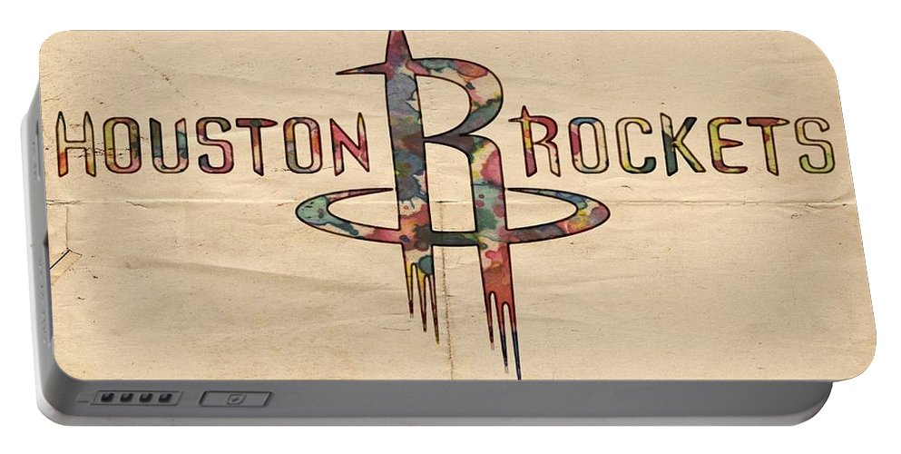 Houston Rockets Portable Battery Charger featuring the painting Houston Rockets Poster Art by Florian Rodarte