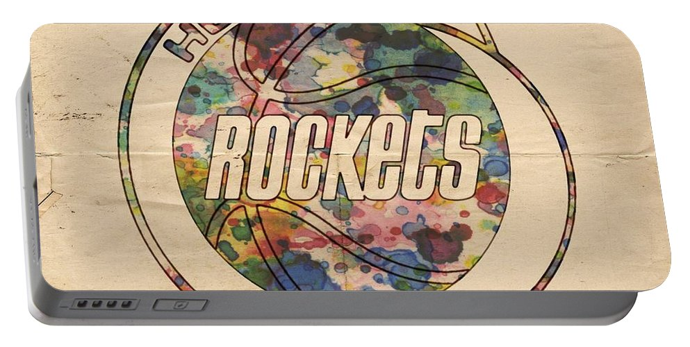 Houston Rockets Portable Battery Charger featuring the painting Houston Rockets Vintage Poster by Florian Rodarte