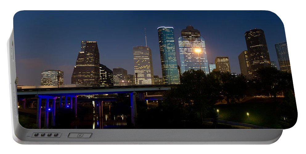 Houston Panoramic Portable Battery Charger featuring the photograph Houston Skyline At Night by James Gamble