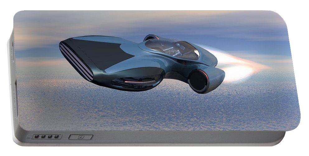 Digital Art Portable Battery Charger featuring the digital art Hover Car by Michael Wimer