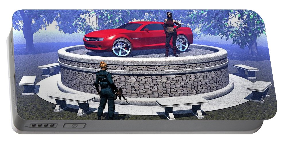 Digital Art Portable Battery Charger featuring the digital art How Did You Get That Car Up There? by Michael Wimer