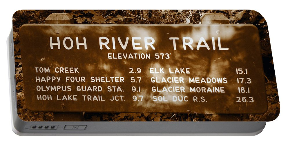 Olympic National Park Washington Portable Battery Charger featuring the photograph Olympic Hoh River Trail Sign by David Lee Thompson