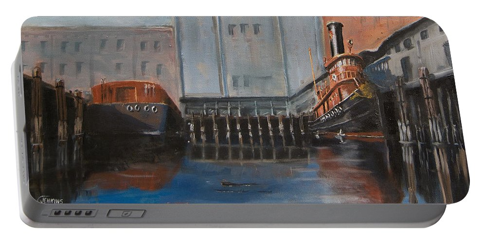 Ny Portable Battery Charger featuring the painting Hudson River Still Life by Christopher Jenkins