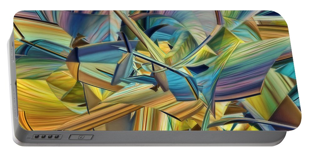 3d Portable Battery Charger featuring the digital art Hues And The Blues by Deborah Benoit