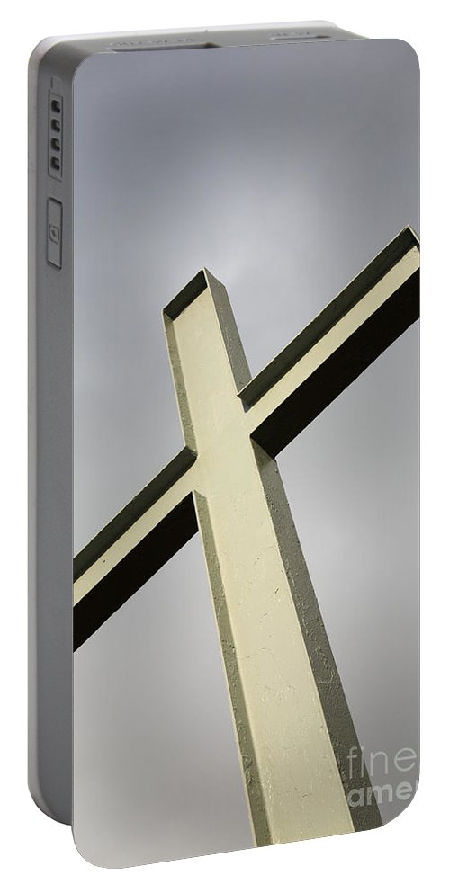 Angle Portable Battery Charger featuring the photograph Huge Cross by Deborah Benbrook