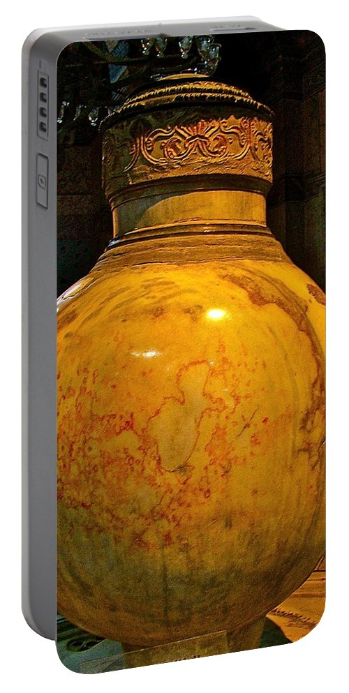 Huge Marble Jar Cut From One Piece Of Marble In Saint Sophia's In Istanbul Portable Battery Charger featuring the photograph Huge Marble Jar Cut From One Piece Of Marble In Saint Sophia's I by Ruth Hager