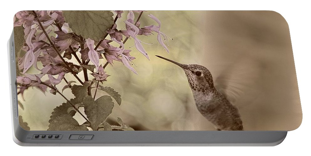 Hummingbird Portable Battery Charger featuring the photograph Humming Along by Peggy Hughes