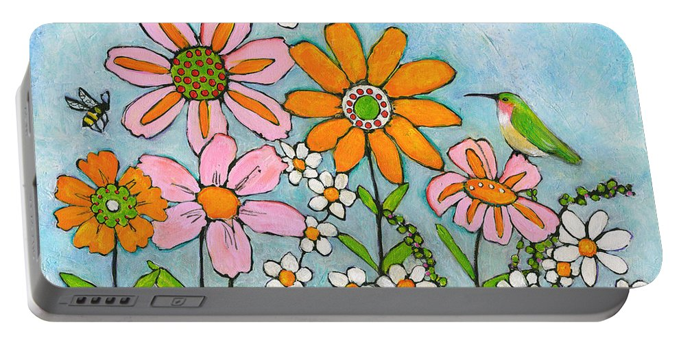 Birds Portable Battery Charger featuring the painting Hummingbird and Bees by Blenda Studio