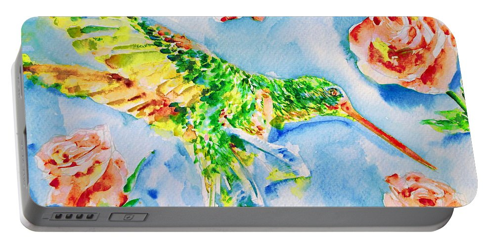Hummingbird Portable Battery Charger featuring the painting Hummingbird In The Roses by Fabrizio Cassetta