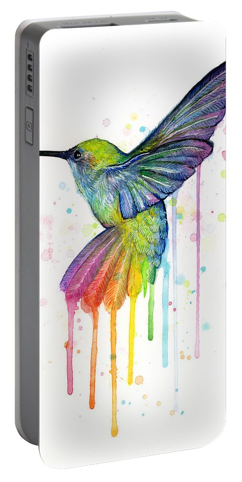 Hummingbird Portable Battery Charger featuring the painting Hummingbird Of Watercolor Rainbow by Olga Shvartsur