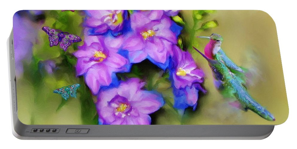 Print Of Birds Portable Battery Charger featuring the painting Hummingbirds Butterflies And Flowers by Susanna Katherine