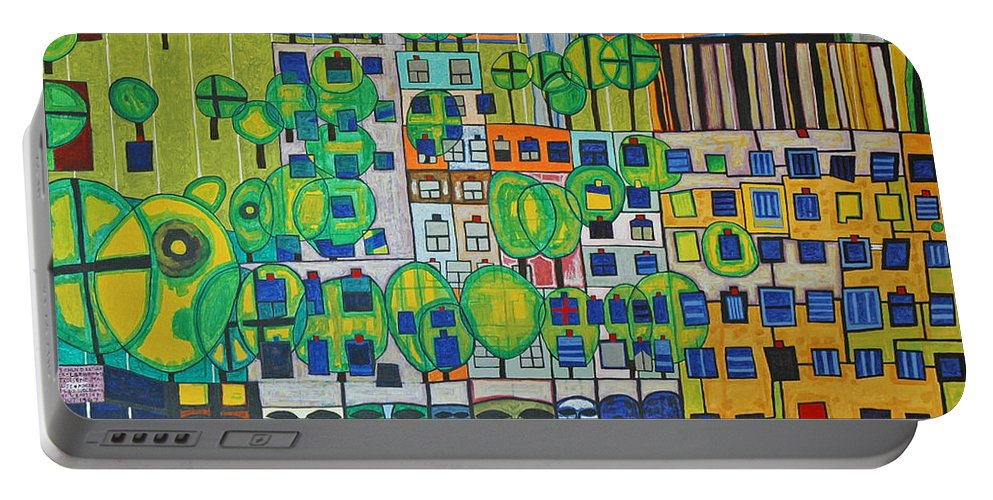 3d Portable Battery Charger featuring the painting Hundertwasser The Three Skins In 3d By J.j.b. by Jesse Jackson Brown