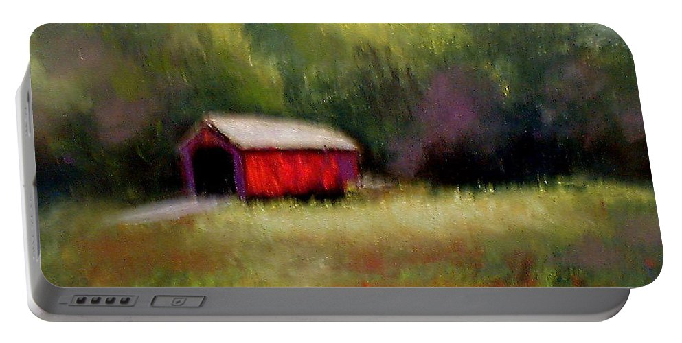 Covered Bridge Portable Battery Charger featuring the painting Hune Bridge by Gail Kirtz