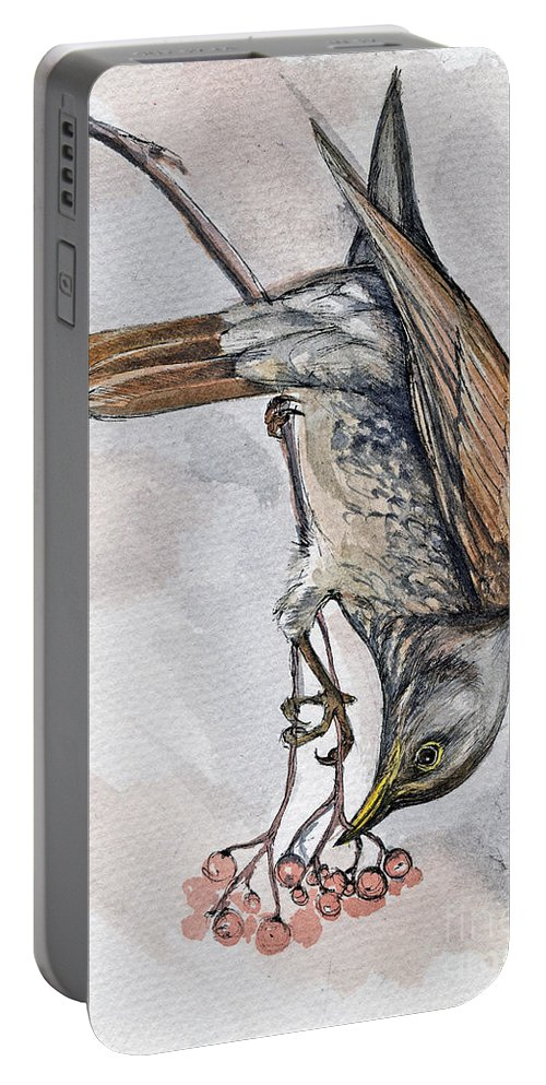 Bird Portable Battery Charger featuring the painting hungry Thrush 1 by Angel Ciesniarska