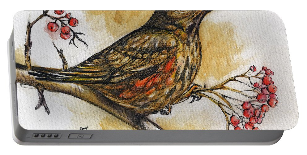 Thrush Portable Battery Charger featuring the painting Hungry Thrush by Angel Ciesniarska