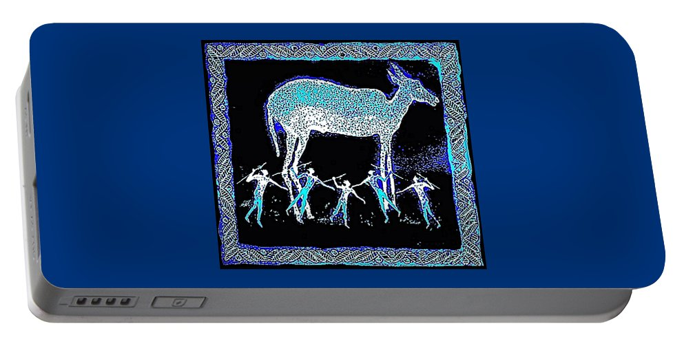 Night Hunt Portable Battery Charger featuring the mixed media Hunters Dream by Hartmut Jager