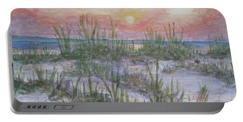 Sea Oats Portable Battery Charger featuring the painting Hunting Island Sea Oats by Carol Luzzi