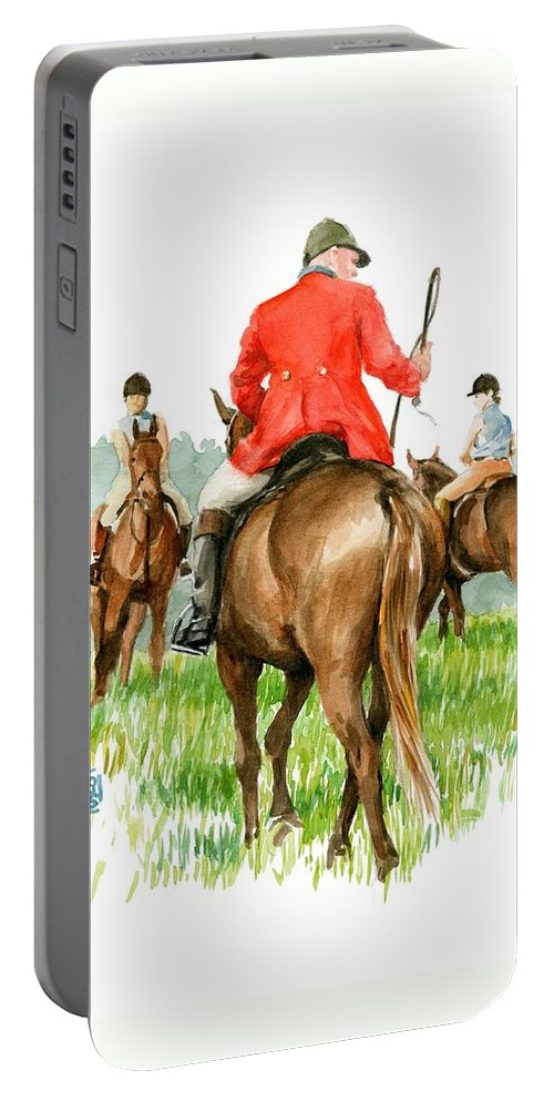Fox Hunt Portable Battery Charger featuring the painting Huntsman by Debra Jones
