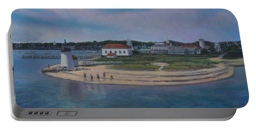 New England Portable Battery Charger featuring the painting Brant Point Beach, Nantucket, Ma by David P Zippi