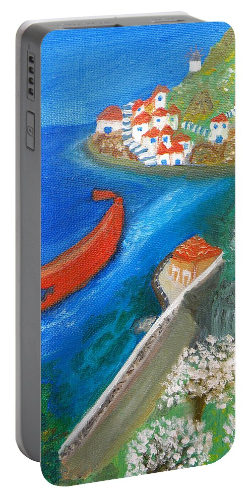 Hydra Portable Battery Charger featuring the painting Hydra Island by Augusta Stylianou