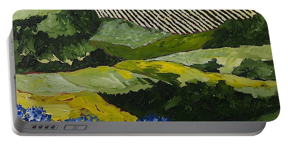 Landscape Portable Battery Charger featuring the painting Hydrangea Valley by Allan P Friedlander
