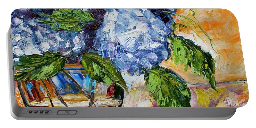 Oil Painting Portable Battery Charger featuring the painting Hydrangeas by Karen Tarlton