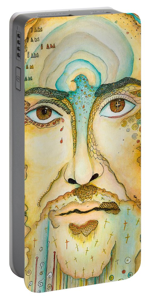 Jesus Portable Battery Charger featuring the painting I Am by Margarita Puckett