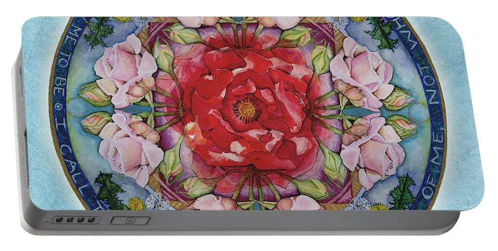 Mandala Art Portable Battery Charger featuring the painting I Am That Mandala by Jo Thomas Blaine