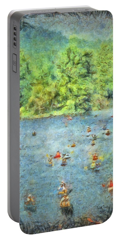 Tree Portable Battery Charger featuring the photograph I Can Canoe by Trish Tritz