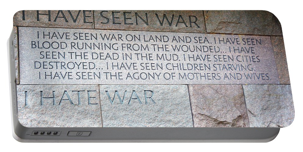 War Portable Battery Charger featuring the photograph I Hate War by Cindy Manero