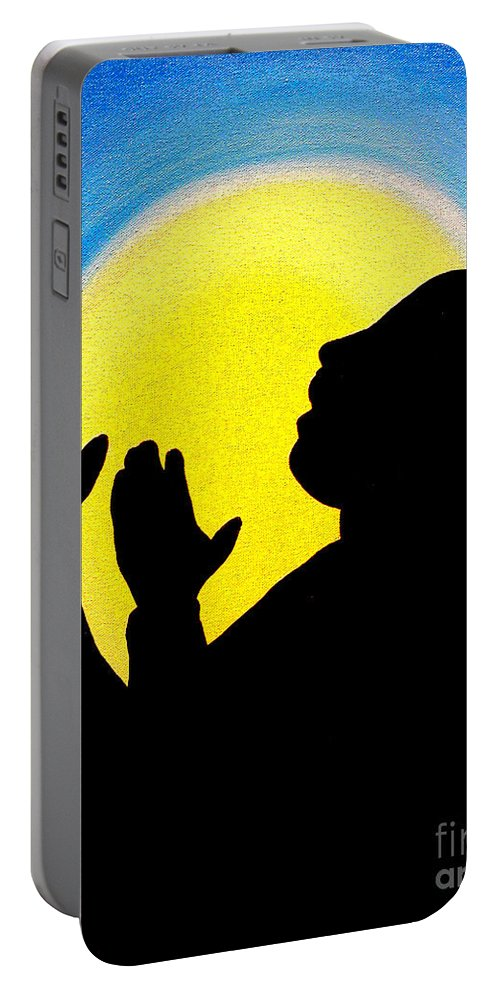 Dr. Martin Luther King Jr Portable Battery Charger featuring the painting I Have A Dream by Alys Caviness-Gober