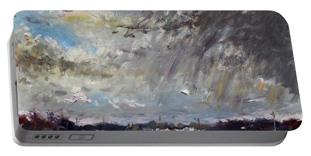 Rain Portable Battery Charger featuring the painting I Just Beat The Rain by Ylli Haruni