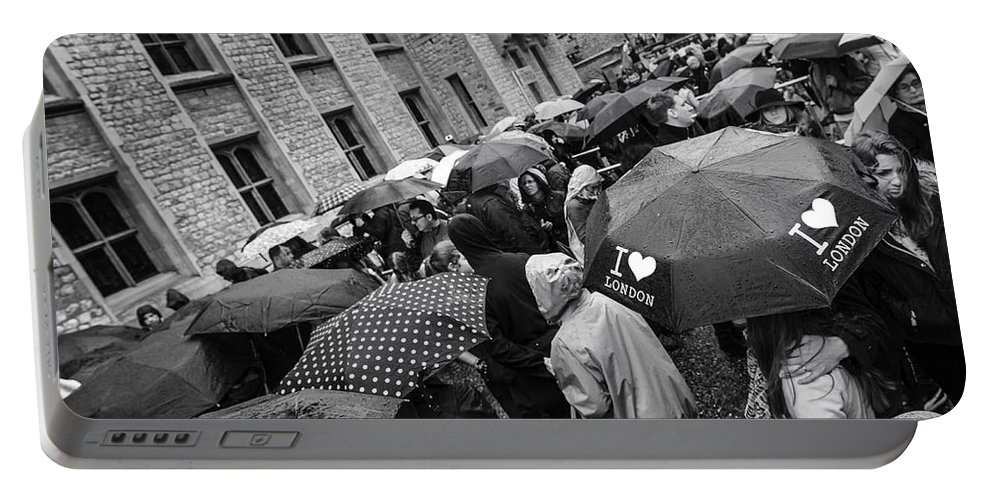 London Portable Battery Charger featuring the photograph I Love London by Alfio Finocchiaro