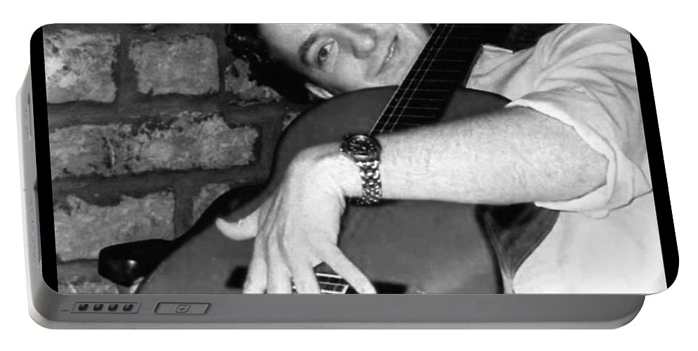 Guitar Portable Battery Charger featuring the photograph I Love My Guitar Series Bw by Joan-Violet Stretch