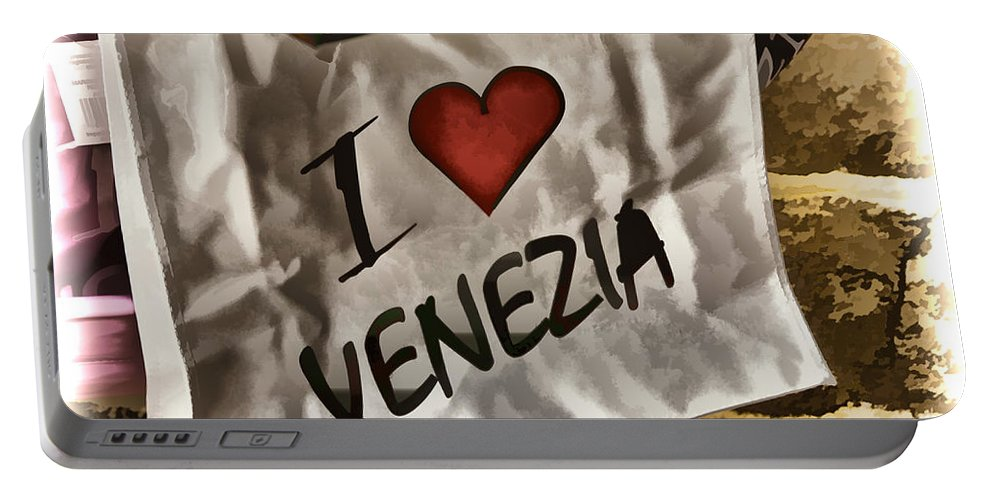 Gondola Portable Battery Charger featuring the photograph I Love Venezia by Jon Berghoff