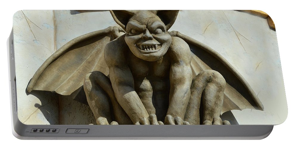 Barbara Snyder Portable Battery Charger featuring the digital art I Was Made To Rule Gargoyle Santa Cruz California by Barbara Snyder