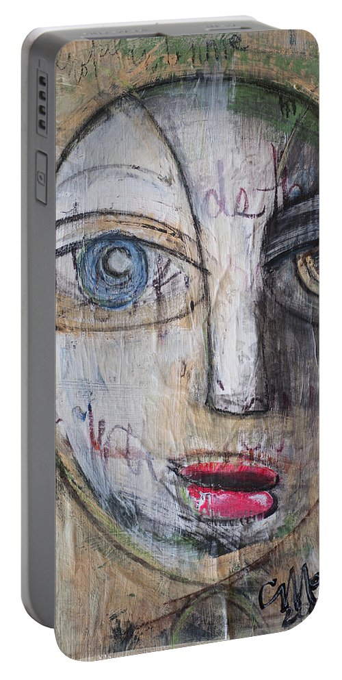 Pop Surrealism Portable Battery Charger featuring the painting I Will Not Abandon Me by Laurie Maves ART