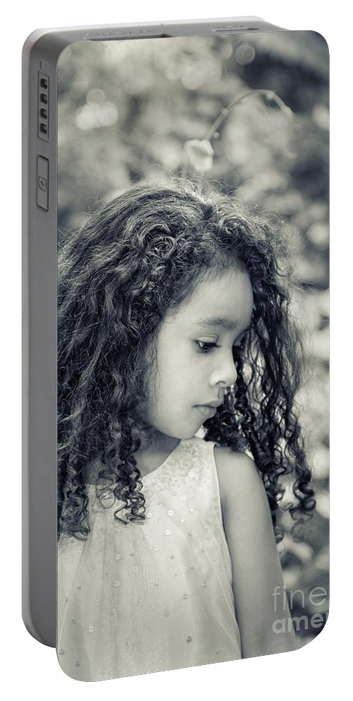 Girl Portable Battery Charger featuring the photograph I Wonder... by Evelina Kremsdorf
