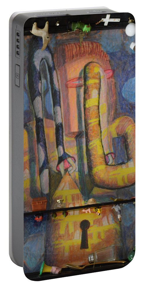 Abstract Modern Outsider Raw Arm Figure Dress Design Keyhole Yellow Blue Folk Surreal Arm Portable Battery Charger featuring the painting I Wouldn't Touch This Dress With A Ten Foot Pole by Nancy Mauerman