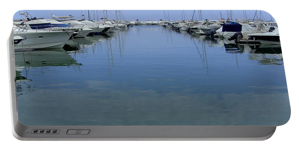 Ibiza Portable Battery Charger featuring the photograph Ibiza Harbour by Steve Kearns