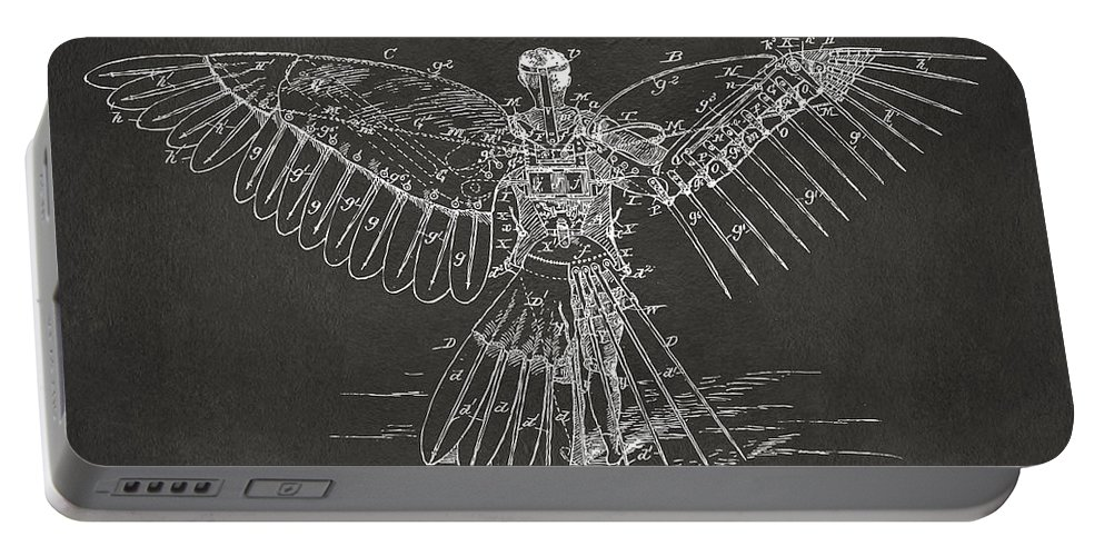 Patent Portable Battery Charger featuring the digital art Icarus Human Flight Patent Artwork - Gray by Nikki Marie Smith