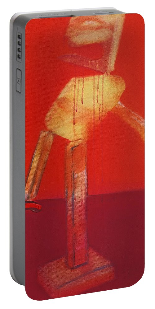 Icarus Portable Battery Charger featuring the painting Icarus In Red by Charles Stuart