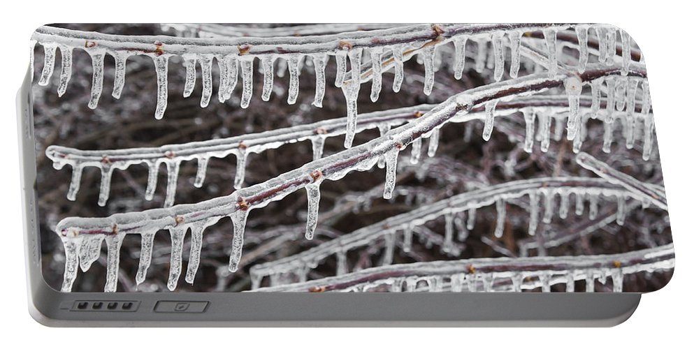 Icicle Portable Battery Charger featuring the photograph Ice Abstract 2 by Barbara McMahon
