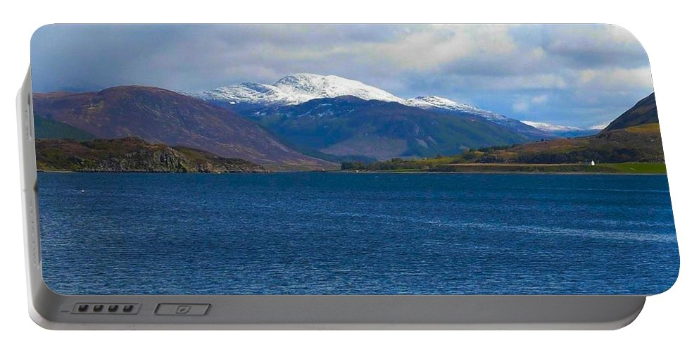 Iced Capped Mountains Portable Battery Charger featuring the photograph Ice Capped Mountains At Ullapool by Joan-Violet Stretch