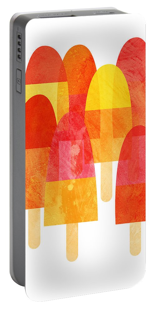 Cool Down With A Bright And Fruity Ice Lolly Print On A Hot Summer Day. Portable Battery Charger featuring the painting Ice Lollies by Nic Squirrell